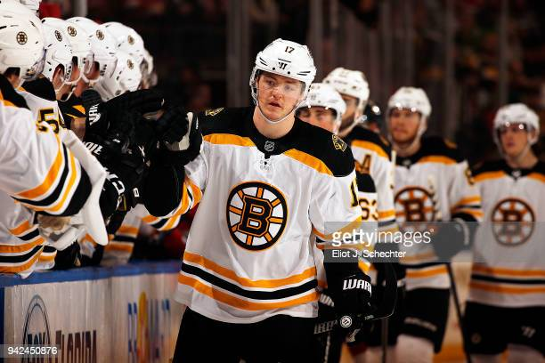 Ryan Donato of the Boston Bruins celebrates his goal with teammates during the first period against the Florida Panthers at the BBT Center on April 5...