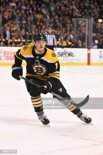 Ryan Donato of the Boston Bruins skates against the Columbus Blue Jackets at the TD Garden on March 19 2018 in Boston Massachusetts Ryan Donato