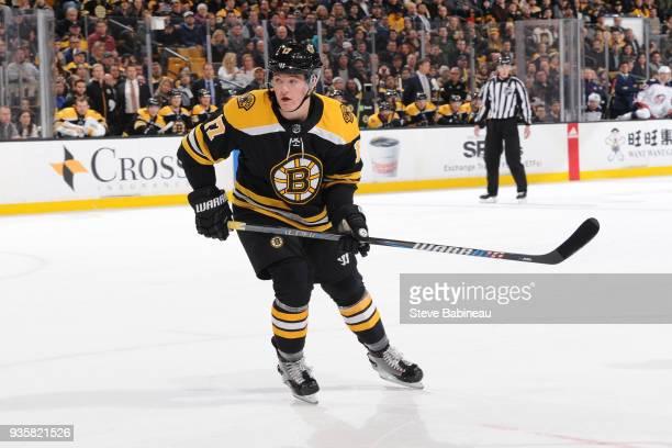 Ryan Donato of the Boston Bruins skates against the Columbus Blue Jackets at the TD Garden on March 19 2018 in Boston Massachusetts