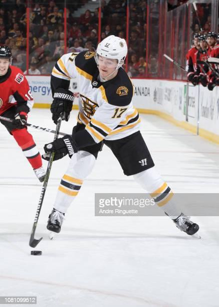 Ryan Donato of the Boston Bruins skates against the Ottawa Senators at Canadian Tire Centre on December 9 2018 in Ottawa Ontario Canada