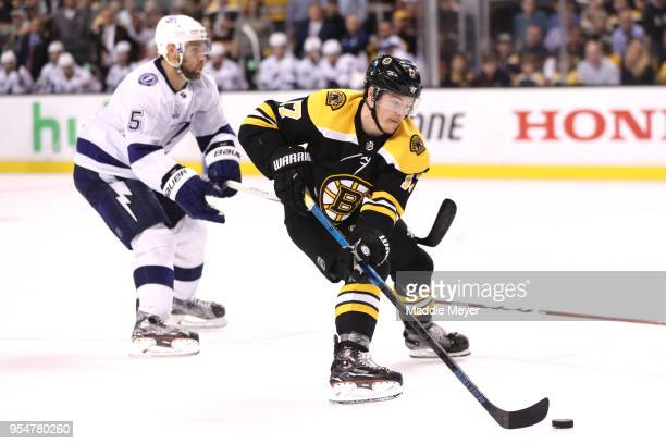 Ryan Donato of the Boston Bruins skates against the Tampa Bay Lightning during the third period of Game Four of the Eastern Conference Second Round...