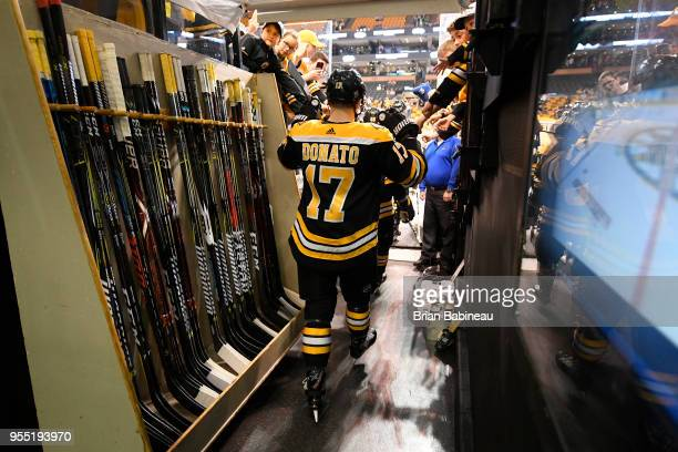 Ryan Donato of the Boston Bruins walks to the ice before Game Four of the Eastern Conference Second Round during the 2018 NHL Stanley Cup Playoffs at...