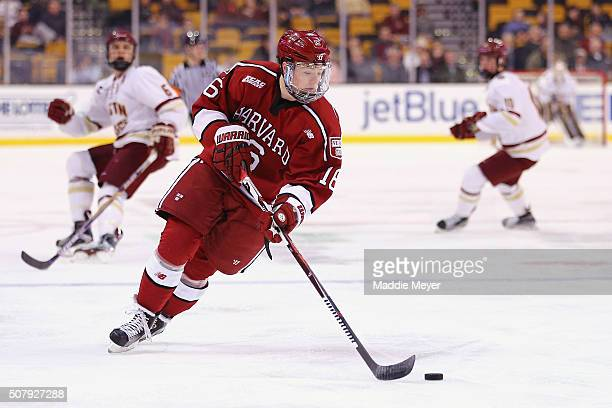 Ryan Donato of the Harvard Crimson skates against the Boston College Eagles during the first period at TD Garden on February 1 2016 in Boston...