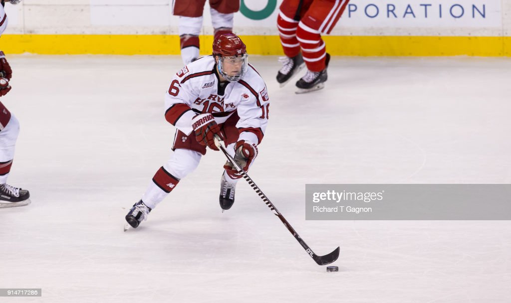 Ryan Donato #16 of the Harvard Crimson skates against the Boston University Terriers during NCAA hockey in the semifinals of the annual Beanpot Hockey Tournament at TD Garden on February 5, 2018 in Boston, Massachusetts. The Terriers won 3-2 in double overtime.