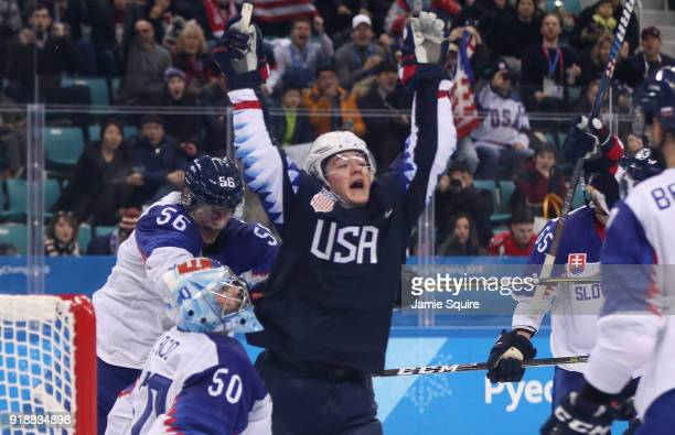 Ryan Donato of the United States celebrates after his second goal against Slovakia during the Men's Ice Hockey Preliminary Round Group B game at...