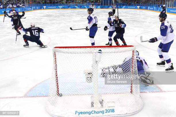 Ryan Donato of the United States celebrates after scoring a goal against Jan Laco of Slovakia in the second period during the Men's Playoffs...