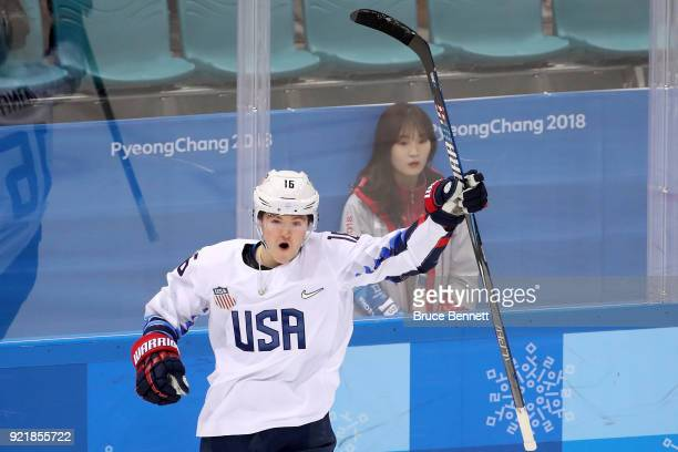 Ryan Donato of the United States celebrates after scoring a goal against Czech Republic in the first period during the Men's Playoffs Quarterfinals...