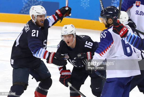 Ryan Donato of the United States celebrates after scoring his second goal against Slovakia during the Men's Ice Hockey Preliminary Round Group B game...