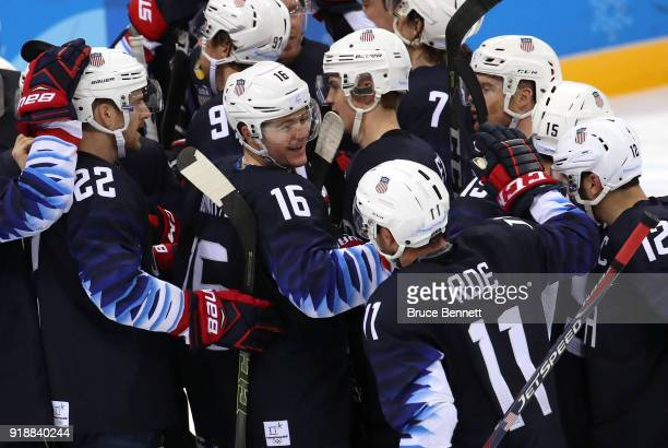 Ryan Donato of the United States celebrates at the end of regulation after scoring two goals to defeat Slovakia 21 during the Men's Ice Hockey...