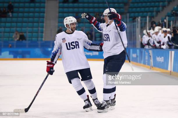 Ryan Donato of the United States celebrates with Ryan Gunderson after scoring a first period goal against the Czech Republic during the Men's...