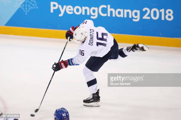 Ryan Donato of the United States makes a shot on goal against the Czech Republic in the second period during the Men's Playoffs Quarterfinals on day...