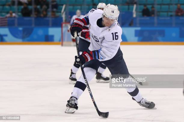 Ryan Donato of the United States scores a goal against Czech Republic in the first period during the Men's Playoffs Quarterfinals on day twelve of...