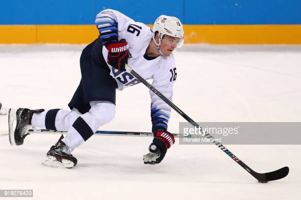 Ryan Donato of the United States skakes during the Men's Ice Hockey Preliminary Round Group B game against Olympic Athlete from Russia on day eight...