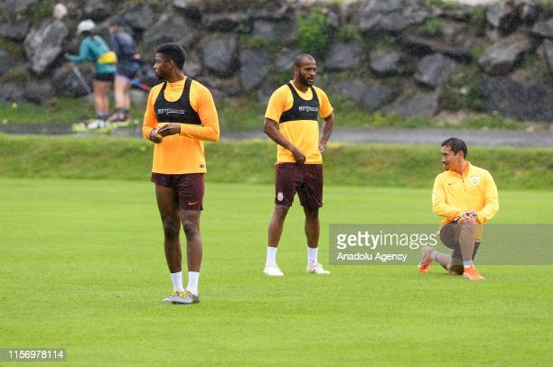 Ryan Donk Marcao and Yuto Nagatomo of Galatasaray attend a training session within summer camp as part of the Turkish Super Lig new season...