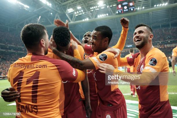 Ryan Donk of Galatasaray celebrates with his team mates after scoring a goal during Turkish Super Lig soccer match between Galatasaray and Fenerbahce...
