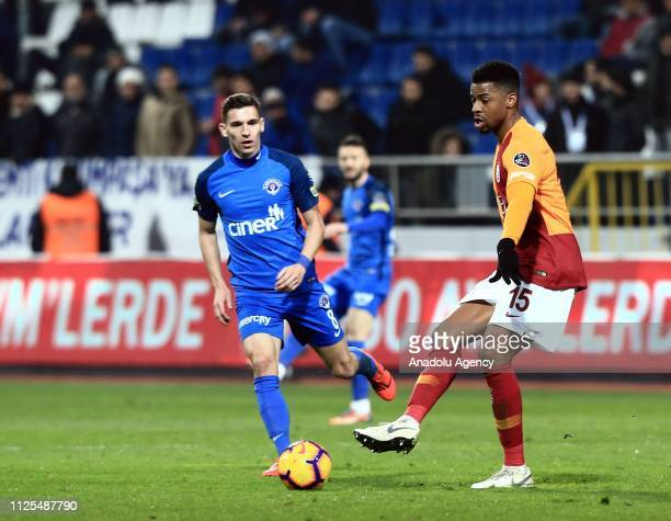 Ryan Donk of Galatasaray in action against David Pavelka of Kasimpasa during the Turkish Super Lig soccer match between Kasimpasa and Galatasaray at...