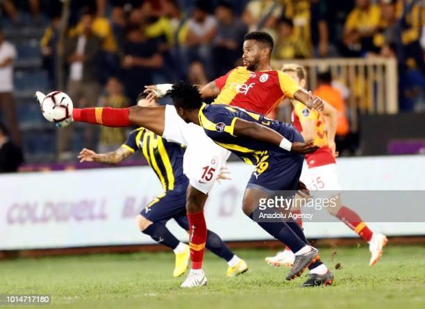 Ryan Donk of Galatasaray vies with Kehinde of MKE Ankaragucu during Turkish Super Lig's new season's debut match between MKE Ankaragucu and...