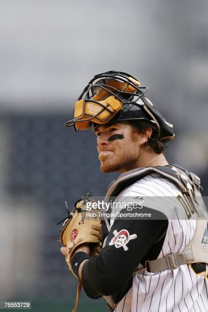 Ryan Doumit of the Pittsburgh Pirates looks on against the Los Angeles Dodgers on June 3, 2007 at PNC Park in Pittsburgh, Pennsylvania. The Dodgers...
