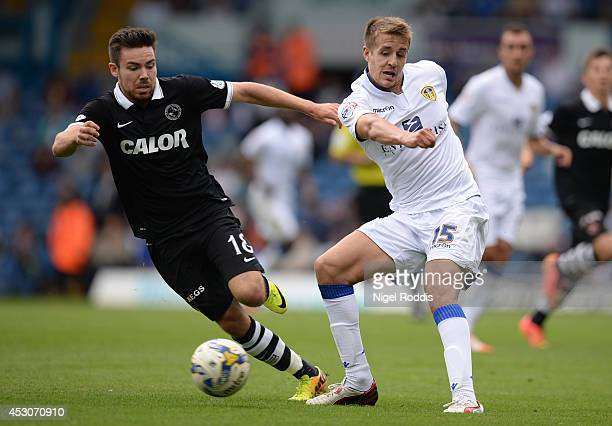 Ryan Dow of Dundee United challenges Scott Wooton of Leeds United during a preseason friendly match between Leeds United and Dundee United at Elland...