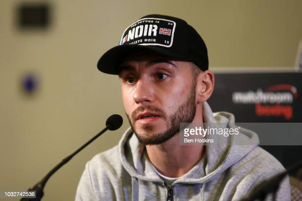 Ryan Doyle speaks to the media during a press conference with boxing promoter Eddie Hearn at The Courthouse Hotel on September 13 2018 in London...
