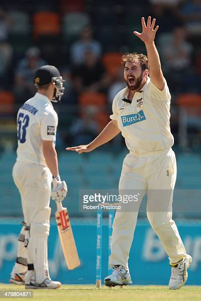 Ryan Duffield of the Warriors appeals successfully for the wicket of Nicholas Maddinson of the Blues during day one of the Sheffield Shield match...