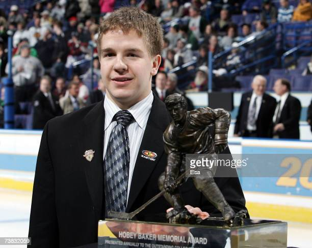 Ryan Duncan of the North Dakota Fighting Sioux stands next to the Hobey Baker Award on April 6, 2007 during the Hobey Baker Award Ceremony at the...