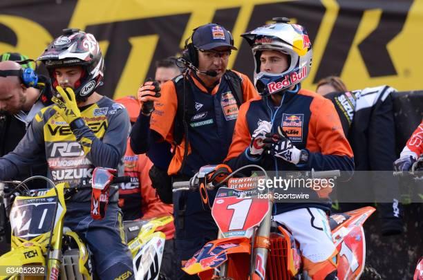 Ryan Dungey 450SX 2016 Monster Energy Motocross Champion Factory Red Bull/KTM along side of Broc Tickle 450SX RCH/Yoshimura/Suzuki gets last minute...