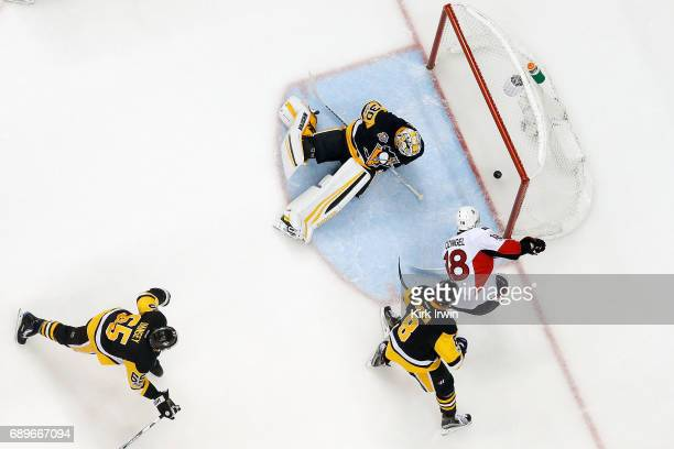 Ryan Dzingel of the Ottawa Senators beats Matt Murray of the Pittsburgh Penguins for a goal in Game Seven of the Eastern Conference Final during the...