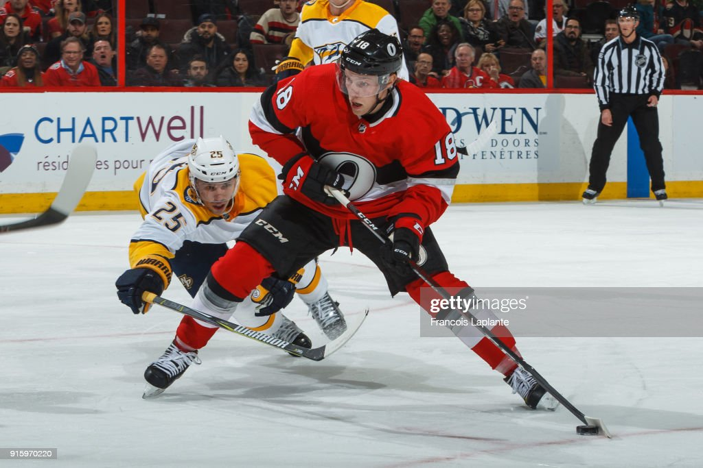Ryan Dzingel #18 of the Ottawa Senators controls the puck past Alexei Emelin #25 of the Nashville Predators at Canadian Tire Centre on February 9, 2018 in Ottawa, Ontario, Canada.