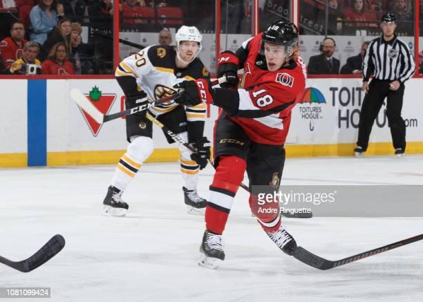 Ryan Dzingel of the Ottawa Senators skates against the Boston Bruins at Canadian Tire Centre on December 9 2018 in Ottawa Ontario Canada