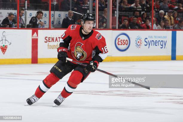 Ryan Dzingel of the Ottawa Senators skates against the Philadelphia Flyers at Canadian Tire Centre on October 10 2018 in Ottawa Ontario Canada