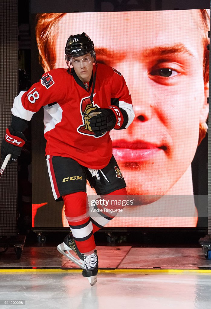 Ryan Dzingel #18 of the Ottawa Senators steps onto the ice during player introductions prior to a game against the Toronto Maple Leafs at Canadian Tire Centre during the season opener on October 12, 2016 in Ottawa, Ontario, Canada.