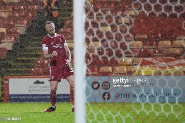 Ryan Edmondson of Aberdeen celebrates during the Ladbrokes Premiership match between Aberdeen and Hamilton at Pittodrie Stadium on October 20 2020 in...