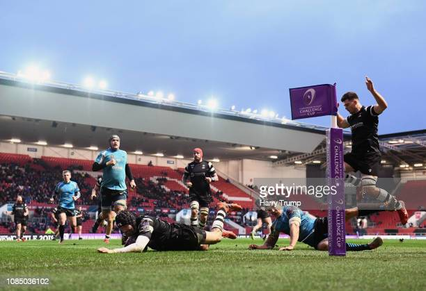 Ryan Edwards of Bristol Bears goes over for a try during the Challenge Cup match between Bristol Bears and Enisei-STM at Ashton Gate on January 19,...