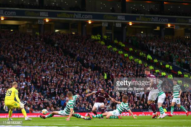 Ryan Edwards of Hearts scores a goal to make it 10 during the William Hill Scottish Cup final between Heart of Midlothian and Celtic at Hampden Park...