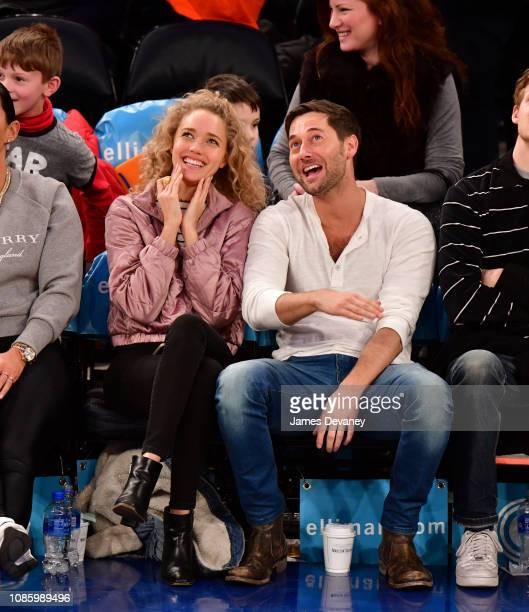 Ryan Eggold and guest attend Oklahoma City Thunder v New York Knicks game at Madison Square Garden on January 21 2019 in New York City
