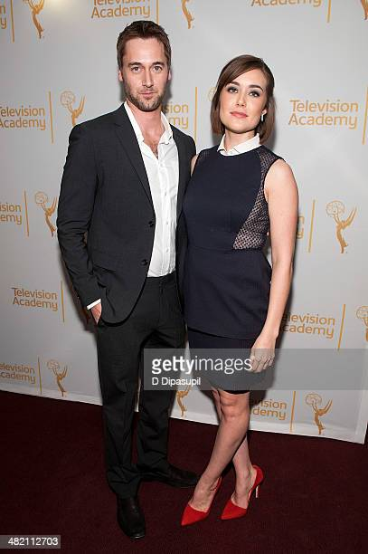 Ryan Eggold and Megan Boone attend an evening with 'The Blacklist' at Florence Gould Hall on April 2 2014 in New York City