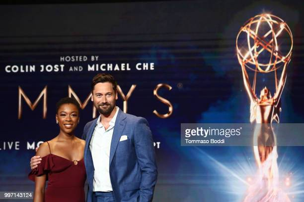 Ryan Eggold and Samira Wiley attend the 70th Emmy Awards Nominations Announcement at Saban Media Center on July 12 2018 in North Hollywood California