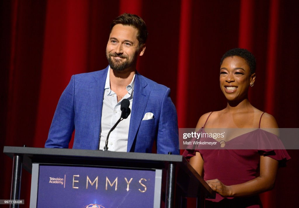 Ryan Eggold (L) and Samira Wiley speak onstage during the 70th Emmy Awards Nominations Announcement at Saban Media Center on July 12, 2018 in North Hollywood, California.