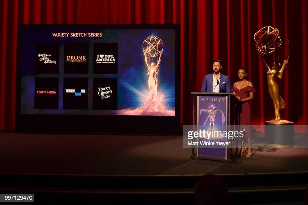 Ryan Eggold and Samira Wiley speak onstage during the 70th Emmy Awards Nominations Announcement at Saban Media Center on July 12 2018 in North...