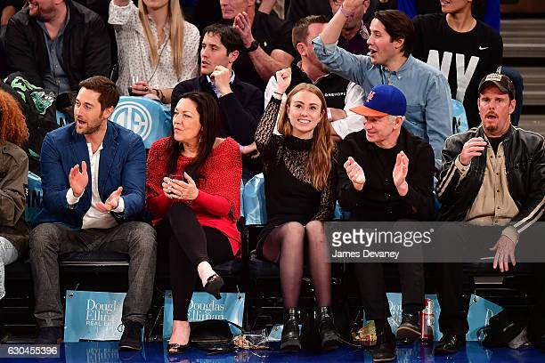 Ryan Eggold guest Anna McEnroe John McEnroe and Kevin Dillon attend Orlando Magic Vs New York Knicks game at Madison Square Garden on December 22...