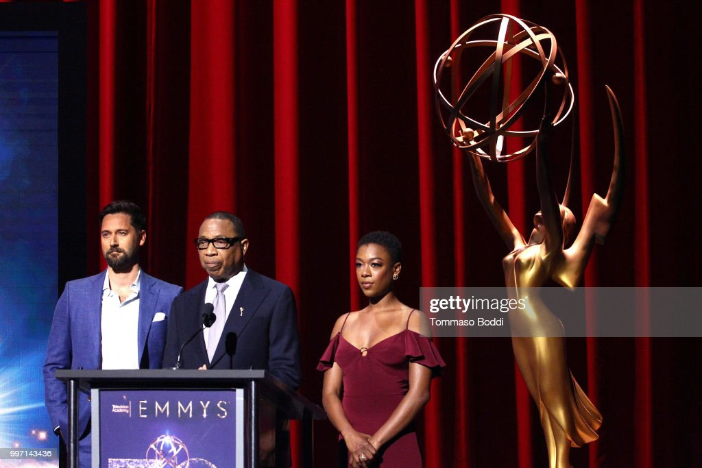 Ryan Eggold, Hayma Washington and Samira Wiley attend the 70th Emmy Awards Nominations Announcement at Saban Media Center on July 12, 2018 in North Hollywood, California.
