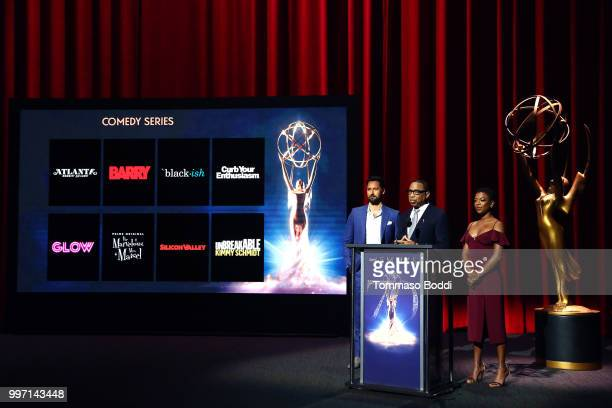 Ryan Eggold Hayma Washington and Samira Wiley attend the 70th Emmy Awards Nominations Announcement at Saban Media Center on July 12 2018 in North...