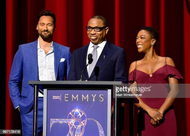 Ryan Eggold Television Academy Chairman and CEO Hayma Washington and Samira Wiley speak onstage during the 70th Emmy Awards Nominations Announcement...