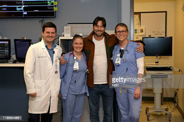 NEW AMSTERDAM Ryan Eggold visits UNC REX Medical Center in Raleigh NC on Thursday February 6 2020 Pictured Ryan Eggold with hospital staff