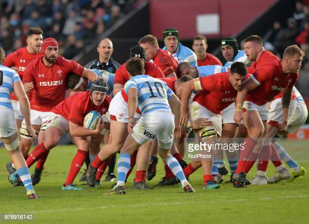 Ryan Elias of Wales carries the ball during the International Test Match between Argentina and Wales at the Brigadier Estanislao Lopez Stadium on...