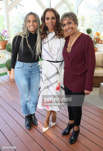 Ryan Elizabeth Peete actress Holly Robinson Peete and Dolores Robinson visit Hallmark's 'Home Family' at Universal Studios Hollywood on March 15 2018...