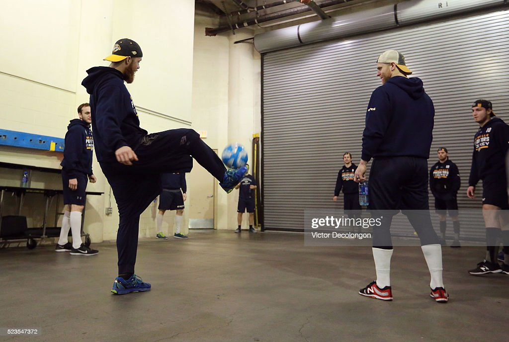 Ryan Ellis #4 of the Nashville Predators and his teammates warm up volleying a soccer ball in the hallway prior to Game Five of the Western Conference First Round against the Anaheim Ducks during the 2016 NHL Stanley Cup Playoffs at Honda Center on April 23, 2016 in Anaheim, California.