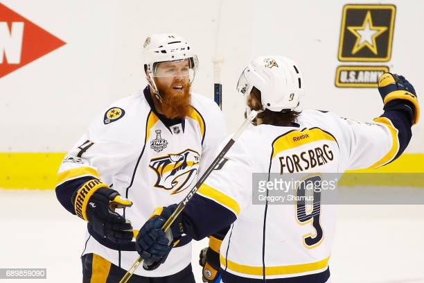 Ryan Ellis of the Nashville Predators celebrates his goal with teammate Filip Forsberg during the second period in Game One of the 2017 NHL Stanley...