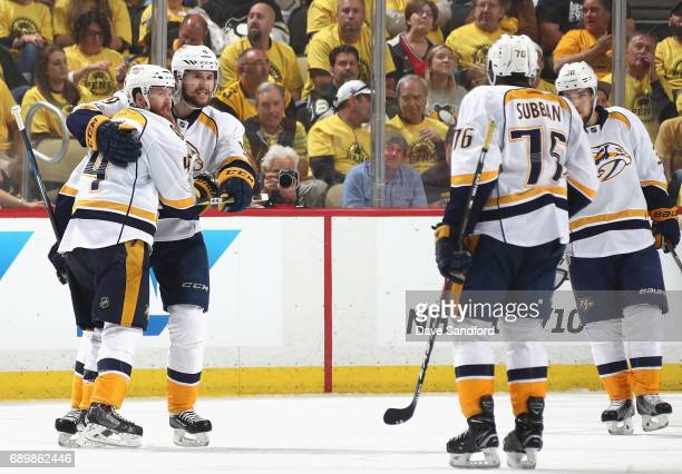 Ryan Ellis of the Nashville Predators celebrates his second period goal with teammate Filip Forsberg during Game One of the 2017 NHL Stanley Cup...